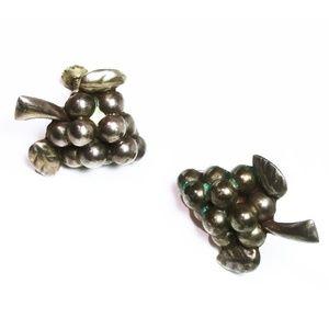 Vintage Sterling Silver Grape Screw Back Earrings